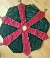 Christmas Tree Skirt Large Octagon Tapestry Quilted Red Green Gold Tassels