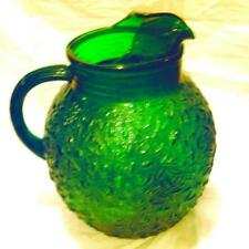"VINTAGE! Large Fluted 9"" DEPRESSION GLASS WATER PITCHER Molded Dark Forest Green"