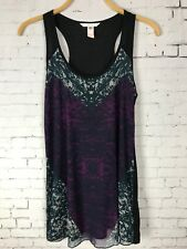 CAbi XS WOMEN'S TANK TOP BLACK WITH PURPLE BLUE MESH FRONT LAYER (C52)
