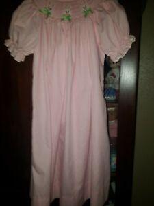 Girls Amanda Remembered Smocked Bishop Dress Sz 5 Pink Bunnies Easter