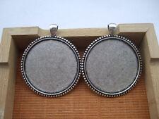 10pcs Antique Silver Large 40mm Round Pendant Trays Blank Bezel/Cabochon Setting