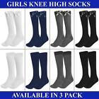 Girls Knee High Socks Long Socks Back to School Knee Length Socks 3 & 6 Pairs