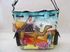 SHARIF GENUINE LEATHER HAND PAINTED EGYPTIAN WEDDING SHOLDER BAG PURSE - NWT