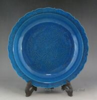 Old Chinese Antique Monochrom Blue Glaze Hand Carved Dragon Porcelain Plate