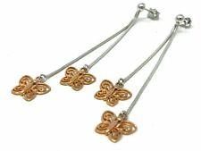 """14K Two Tone Gold Butterfly Drop Dangle Earrings 3"""" 5.2 grams"""