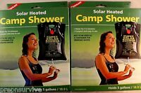 2 PK CAMP SHOWER SOLAR HEATED 5 GAL. COMPACT EASY TO USE NON TOXIC PVC COGHLANS