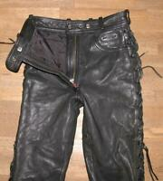 Hein Gericke Red Zipp Damen- Leather Jeans/Lace-Up Pants Black Approx. Size 34