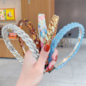 Lady Transparent Resin Chain Headband Wide Irregular Geometric Braided Hair Band