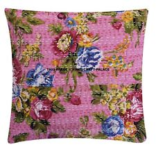 Indian Flower Pillow Case Kantha Cushion Covers Sofa Chair Use Decor 40x40cm