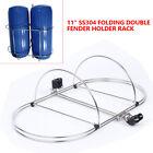 """11"""" Double Fender Holder Rack Inflatable Boat Fender Rack Stainless Steel USA"""