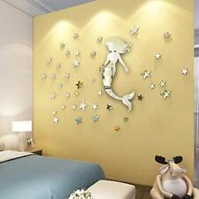 """New listing Mermaid Mirror Wall Decal 20"""" and 53 Stars for Girl Room Wall Decor and Silve."""