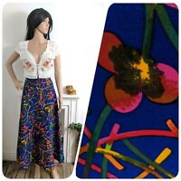 Vintage 70s Abstract Poppy Floral Blue A line Maxi Skirt XS 4 6 32 34