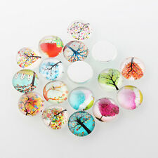 printed tree of life patterns-7538N 6pc 20mm mix glass cabochons with
