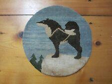 Grenfell Hooked Rug Mat w Label Husky Dog Newfoundland Labrador Antique