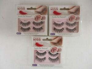 6 PAIRS KISS LOOKS SO NATURAL FALSE EYELASHES SULTRY BLACK LASHES HN 2769