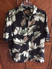 Silk Short Sleeve Caribbean Pineapple Connection Shirt Palm Leaves Size M