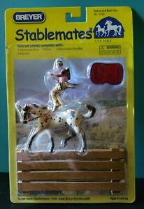 Breyer Stablemates Horse And Rider Set No. 5208 Indian brave & Appaloosa