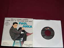 "PAUL ANKA ""Hello Young Lovers"" w/Pic ABC-Paramount 45-10132"