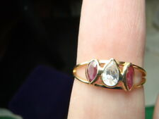 18K Solid Yellow Gold Beautiful Ruby and Cz Ring 1.5 Grams Size 7 LOT 1250