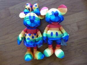 Disney Rainbow Collection Mickey and Minnie Plush Set