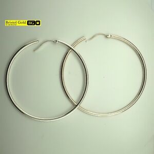 BRAND NEW Fully Hallmarked 925 Sterling Silver Large Hoop Earrings - FREE P&P
