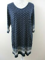 Intuition tunic dress size 12/14 stretch navy & small pattern slouch pockets