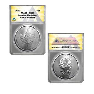 2021 Canada 1 oz Silver Maple Leaf $5 Coin MS70
