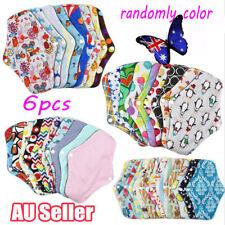 6pcs Women Menstrual Pads Reusable Panty Liners Sanitary Bamboo Washable Cloth V