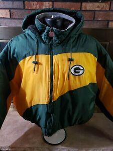 Vintage Green Bay Packers 90s Puffy Puffer Hooded NFL Football Jacket Mens XXL