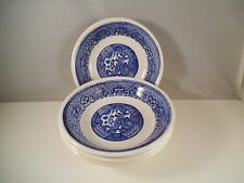 Vintage Unmarked Blue Willow Ware Lot of Four Berry Dessert Bowls