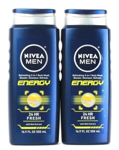2 Bottles Nivea Men 16.9 Oz Energy With Mint 3 In 1 Body Wash Shower Shampoo
