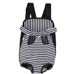 NEW BLUE & WHITE NAUTICAL STRIPE PUPPY OR SMALL DOG CARRIER TRAVEL BAG MEDIUM