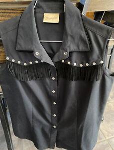 Vintage Wrangler Womens Western Shirt Button Front Rodeo Fringe NWOT