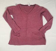 White Stuff Pink Fleck Winter Jumper Sweater Long Sleeved 12/14 Pockets V-Neck