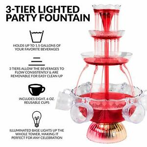 1.5 GallonVParty Punch Lighted Fountain Indoor Birthday Tableware Drink Beverage