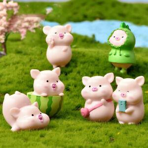 7pcs/set Cartoon Pig Animal Doll Toy Model Statue Figurine Ornament Miniatu Ky