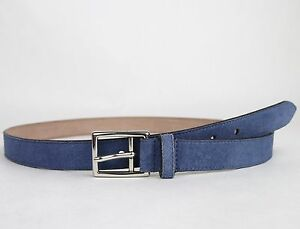 New Gucci Men's Blue Suede Leather Belt Silver Buckle 368193 4239