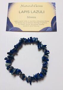 Lapis Lazuli Gemstone Chip Bracelet with free organza bag and card