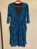 Torrid Women's Rose Print Dress Teal Blue Size 1X Pockets 3/4 Sleeves Stretch