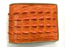Genuine Crocodile Alligator Hornback Skin Leather Men's Bifold Wallet Orange
