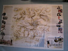 THE QUEST FOR EVEREST WALL MAP + EXPEDITION National Geographic June 2002 MINT