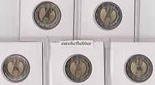 Duitsland      5  X  2 Euro  2008  (ADLER)  A-D-F-G-J