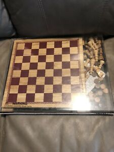 Woodfield Collection Chess & Checkers Set. Wooden Board & Pieces
