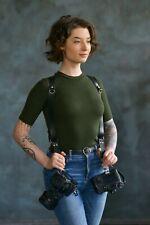 Dual Leather Camera Strap, Double Camera Harness, Double Shoulder Camera Strap