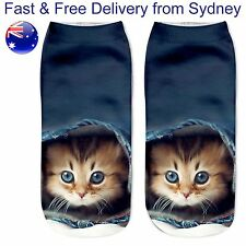 Cute kitten low cut socks - curious cat sock - tabby cats jeans novelty gift
