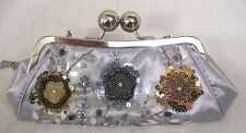 Vintage Womans Handbag Sequined Beaded Flowers on Silver Grey Fabric