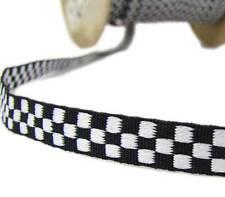"""5 Yds Black White Checkered Woven Jacquard Ribbon 3/8""""W"""