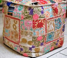 New Indian Handmade Patchwork Square Pouf Cover Home Decor Beige Color 18x18 Inc