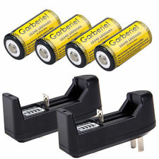 4PCS CR123A 1800mAh Rechargeable Batteries 16340 Battery 3.7V Li-ion + 2xCharger