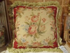 Entirely Handmade ANTIQUE Burgandy Beige Rose NEEDLEPOINT PILLOW CUSHION